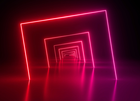 pink neon squares in a dark room - mhr summit