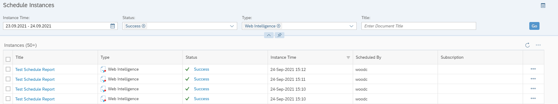 Screenshot of scheduled reports in 4.3