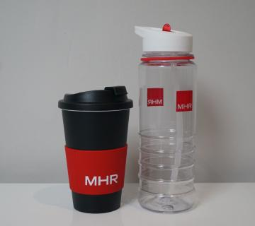 MHR branded reusable coffee cup and water bottle
